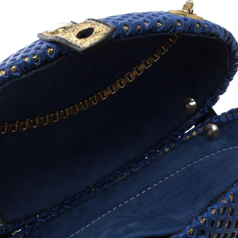 Nicolas Theil Blue and Metallic Gold Leather Mesh Egg Clutch For Sale 5