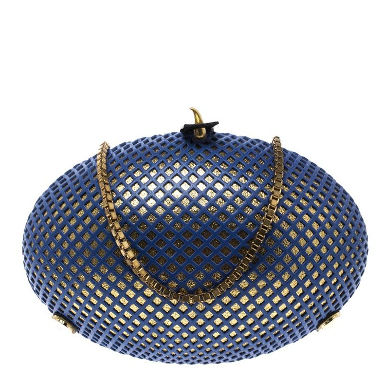Nicolas Theil Blue and Metallic Gold Leather Mesh Egg Clutch For Sale