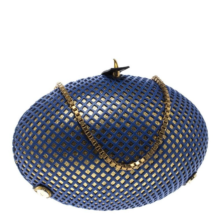 Nicolas Theil Blue and Metallic Gold Leather Mesh Egg Clutch For Sale 6