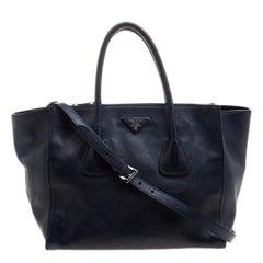 Prada Navy Blue Leather Double Zip Tote