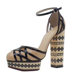 Charlotte Olympia Beige and Black Ay Caramba! Ankle Strap Sandals Size 40