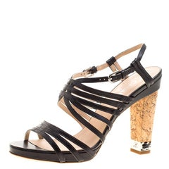 Chanel Black Leather Chain Detail Cork Heel Strappy Sandals Size 41