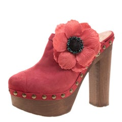 Chanel Red Suede Camellia Embellished Wooden Clogs Size 40