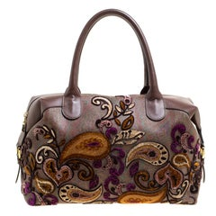 Etro Brown Paisley Printed Coated Canvas Embroidered Boston Bag