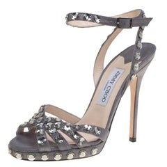 Jimmy Choo Metallic Grey Suede Joni Crystal Embellished Ankle Strap Sandals Size