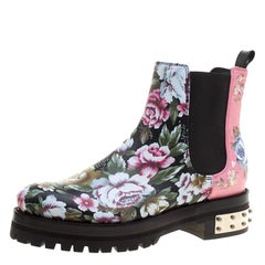 Alexander McQueen Multicolor Floral Print Patch and Embroidered Leather Chelsea