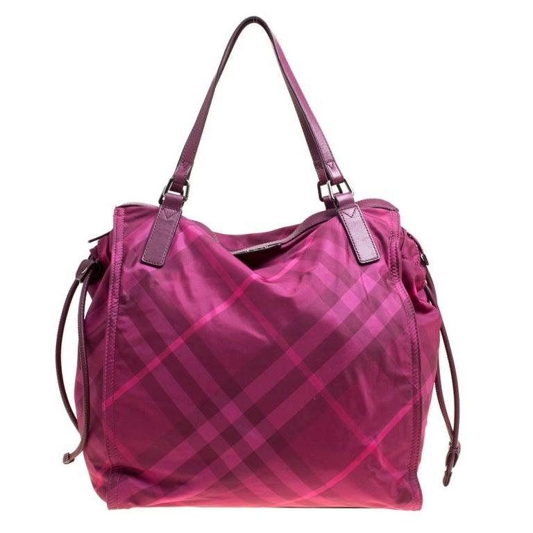 Burberry Hot Pink Nova Check Nylon Tote at 1stdibs 7091f1e81f