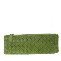Bottega Veneta Lime Green Intrecciato Leather Cosmetic Pouch