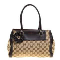 Gucci Beige/Brown GG Canvas and Leather Small Trophy Tote