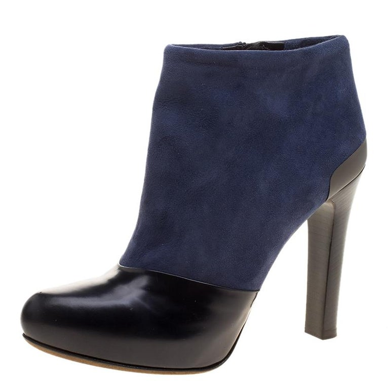 Fendi Navy Blueblack Suede And Leather Ankle Boots Size 375 At 1stdibs