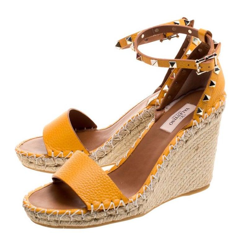 e25e015a44d Valentino Tangerine Orange Leather Rockstud Espadrille Wedge Sandals Size  38 For Sale 2