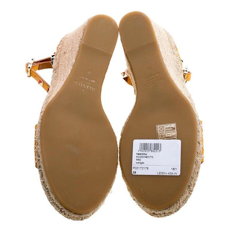 ee58569f348 Valentino Tangerine Orange Leather Rockstud Espadrille Wedge Sandals Size  38 For Sale 4