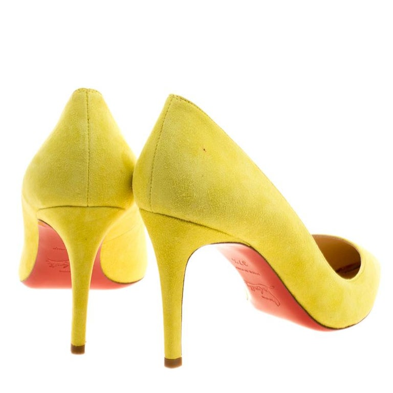 e3ac7e99e Christian Louboutin Yellow Suede Pigalle Pumps Size 37.5 In Excellent  Condition For Sale In Dubai,