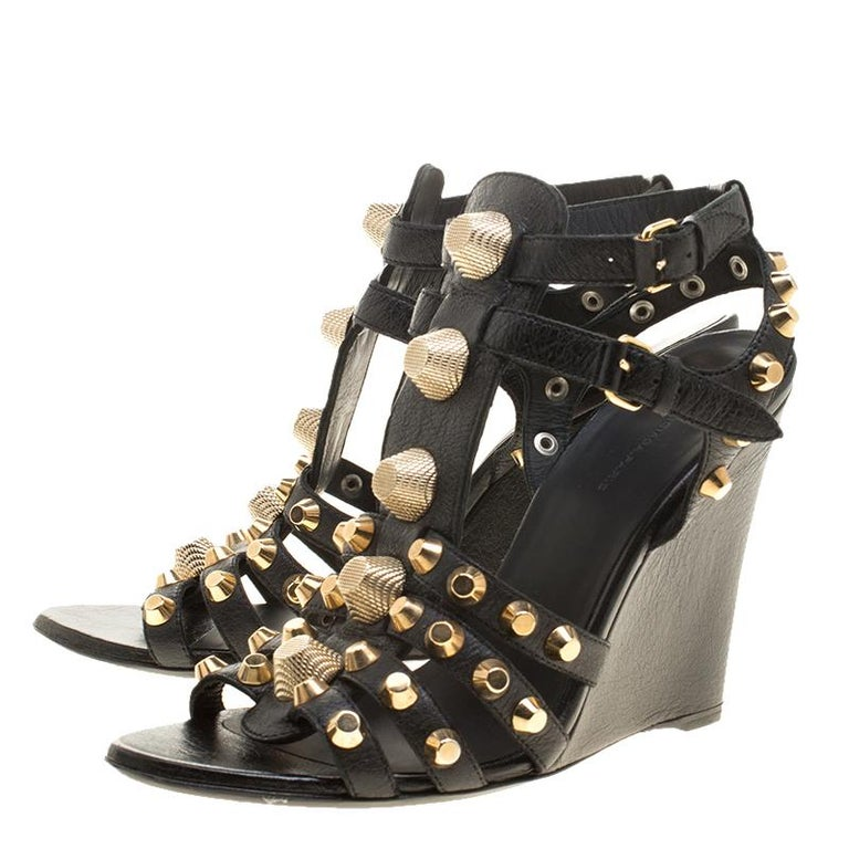 6cbdc793ff66 Balenciaga Black Leather Arena Studded Gladiator Wedge Sandals Size 40.5  For Sale 2