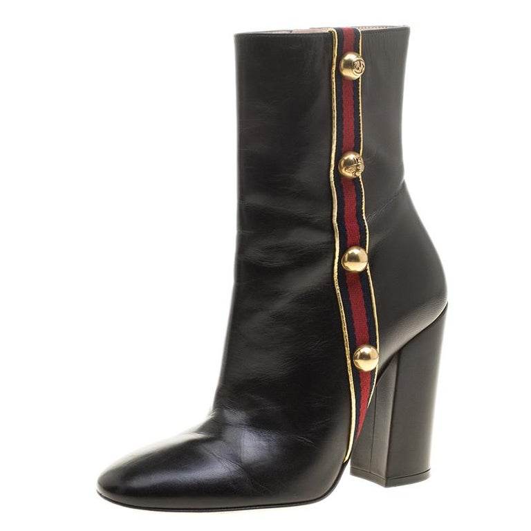 36a37f180d9 Gucci Black Leather Carly Malaga Studded Web Detail Block Heel Ankle Boots  Size