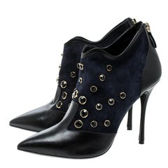 Nicholas Kirkwood Navy Blue Crystal Embellished Suede and Leather Pointed Toe An