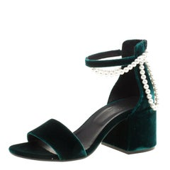 MM6 Maison Margiela Dark Green Velvet Faux Pearl Embellished Ankle Strap Sandals