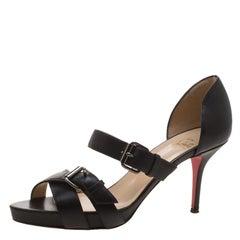 Christian Louboutin Black Leather Sandals Size 37.5