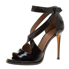 Givenchy Black Patent Leather Star Studded Cross Ankle Strap Sandals Size 38.5