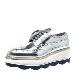 Prada Metallic Silver Brogue Leather Wave Wingtip Platform Derby Sneakers Size 3