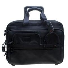 TUMI Black Nylon Two Wheel Alpha Brief with Laptop Case