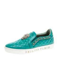 Philipp Plein Turquoise Quilted Leather Crystal Embellished Skull Slip On Sneake