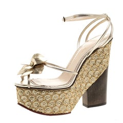 Charlotte Olympia Metallic Gold Leather and PVC Orchid Leandra Ankle Strap Platf