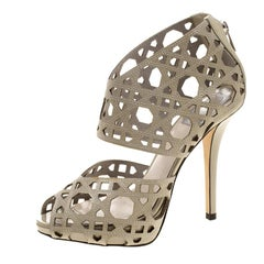 Dior Khaki Cutout Cannage Leather Miss Dior Caged Sandals Size 36