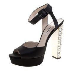 Miu Miu Black Satin Crystal Embellished Block Heel Ankle Strap Sandals Size 40