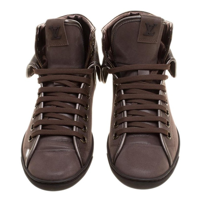 4a0f67b8c1b Louis Vuitton Brown Suede and Monogram Canvas Brea High Top Sneakers Size 37