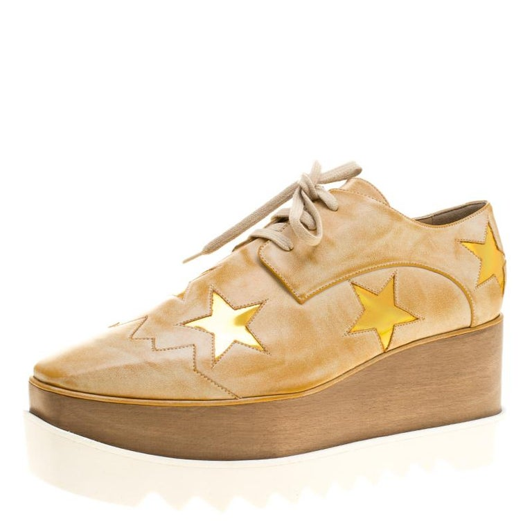 598783354da4 Stella McCartney Beige Brushed Faux Leather Elyse Star Platform Lace Up  Derby Si For Sale