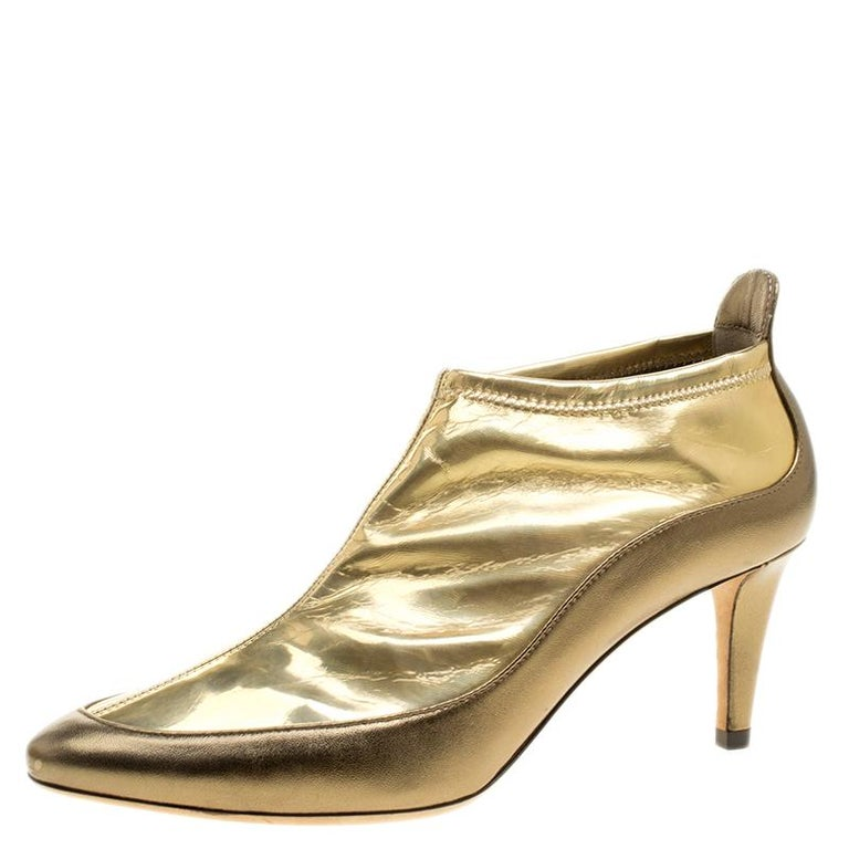 Jimmy Choo Metallic Gold Leather and PVC Dierdre Ankle Boots Size 37 For Sale