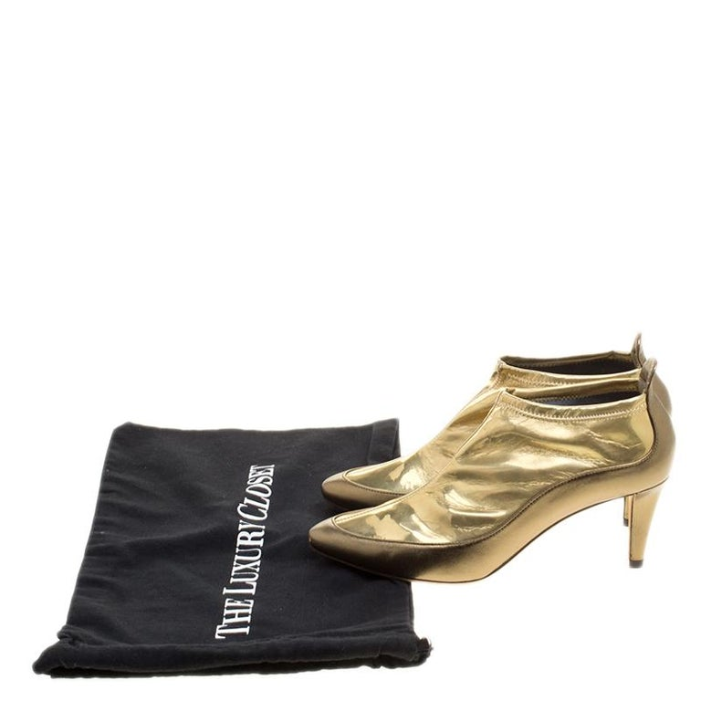 Jimmy Choo Metallic Gold Leather and PVC Dierdre Ankle Boots Size 37 For Sale 2