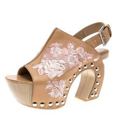 Alexander McQueen Peach Leather Embroidered Slingback Wooden Clogs Size 37
