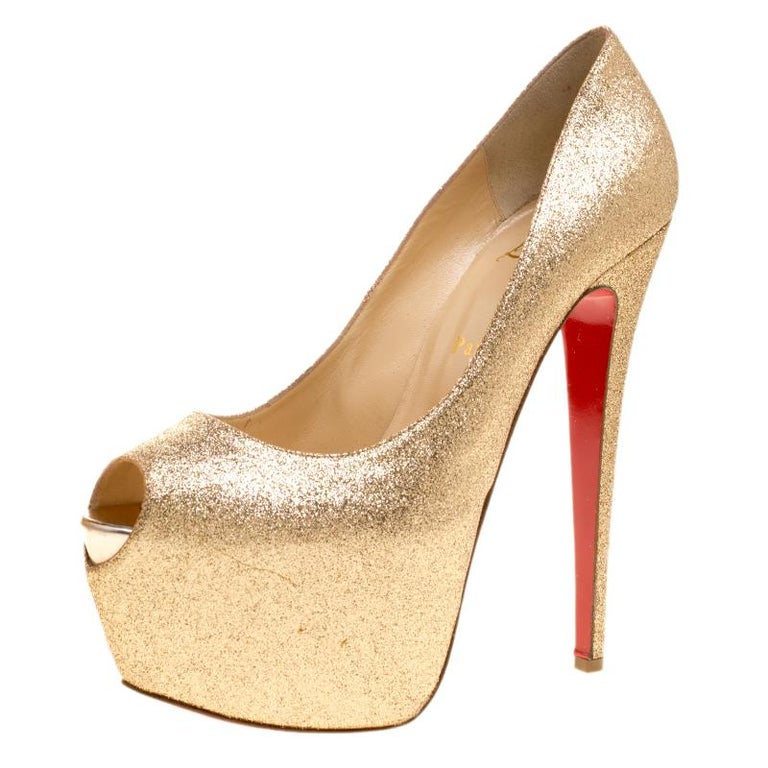 cheap for discount 07f28 694d3 Christian Louboutin Gold Glitter Lady Peep Toe Platform Pumps Size 40.5