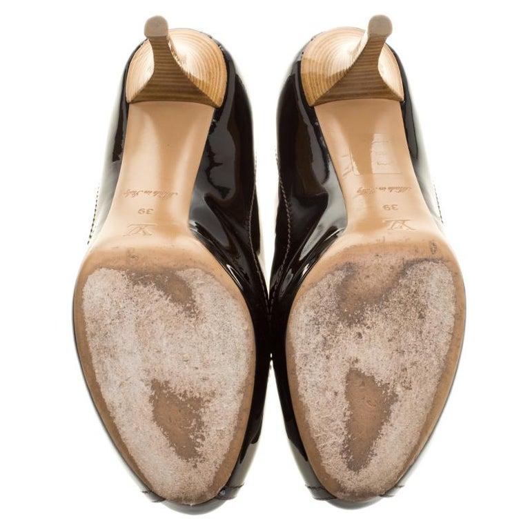 9d71e4bc7a Women's Louis Vuitton Black Vernis Leather Dice Peep Toe Platform Pumps  Size 39 For Sale