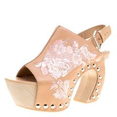 Alexander McQueen Peach Leather Embroidered Slingback Wooden Clogs Size 39