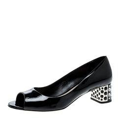 Miu Miu Black Patent Leather Crystal Block Heel Open Toe Pumps Size 37.5