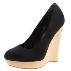Saint Laurent Paris Black Satin Maryna Wedge Pumps Size 35