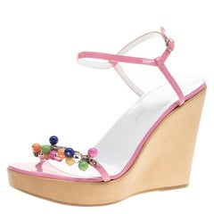 Dolce And Gabbana Pink Patent Leather Beads Embellished Ankle Strap Open Toe Wed