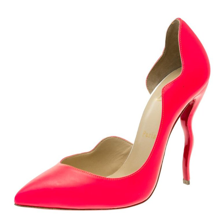 5d66abbb5444 Christian Louboutin Neon Fuschia Leather Dalida D Orsay Pointed Toe Pumps  Size 3 For Sale