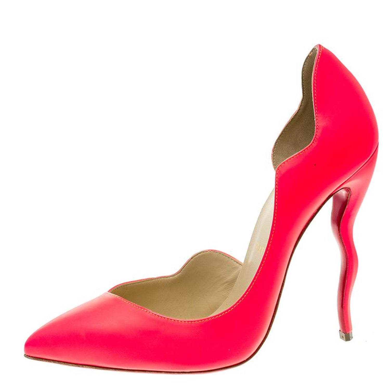 9219318de7d Christian Louboutin Neon Fuschia Leather Dalida D'Orsay Pointed Toe Pumps  Size 3