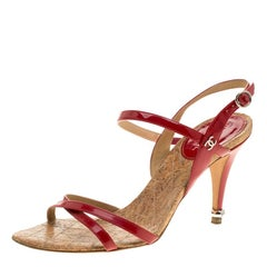 Chanel Red Patent Leather CC Logo Slingback Sandals Size 37.5