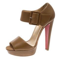 Christian Louboutin Beige Leather Haute Retenue Ankle Strap Platform Sandals Siz