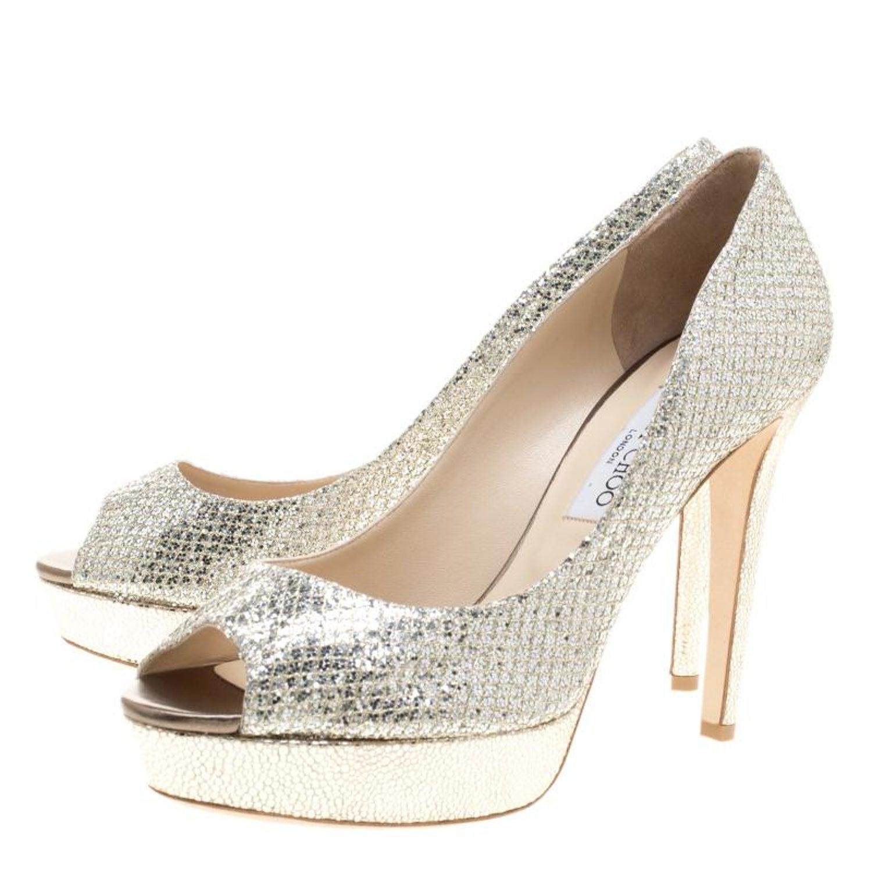 fb8c2288d48 Jimmy Choo Silver Glitter Fabric Luna Peep Toe Platform Pumps Size 38 at  1stdibs