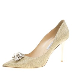 Jimmy Choo Metallic Gold Lamè Glitter Fabric Mamey Crystal Embellished Pointed T