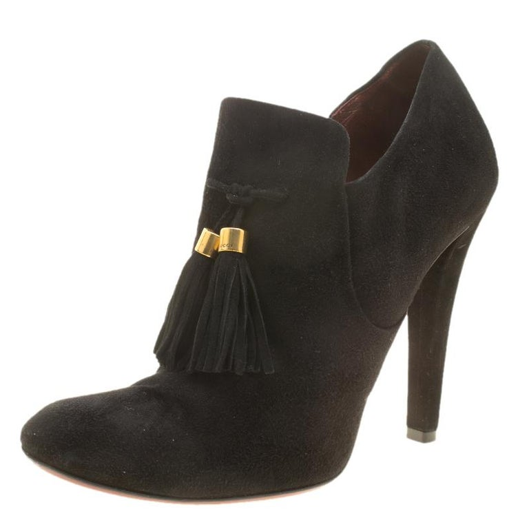 3e4ed7285f9 Gucci Black Suede Mischa Tassel Detail Ankle Booties Size 38.5