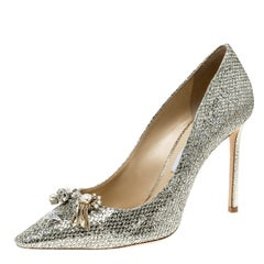 Jimmy Choo Metallic Champagne Glitter Fabric Jasmine Crystal Embellished Pointed