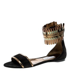 Jimmy Choo Black Suede and Mirror Leather Kimro Ankle Cuff Flat Sandals Size 41
