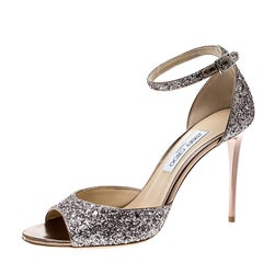 Jimmy Choo Metallic Rose Coarse Glitter Annie Peep Toe Ankle Strap Sandals Size
